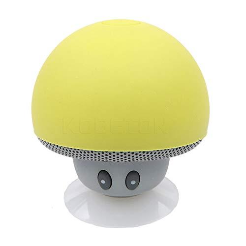 YUHUANG Mini Bluetooth Lautsprecher, Pilz tragbarer drahtloser wasserdichter Dusche Stereo Subwoofer Musik-Player für IOS und Android-Gelb
