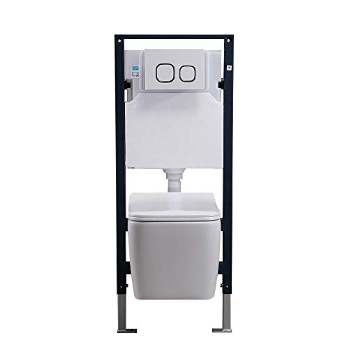 Homary Wall Hung Toilet Bathroom Elongated Toilet Bowl Wall Mount Toilet with In-Wall Tank and Carrier System in White 1.1/1.6 GPF Dual Flush Toilet, Ceramic… (Bowl With Tank)