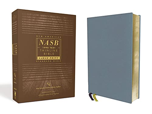 NASB, Thinline Bible, Large Print, Genuine Leather, Buffalo, Blue, Red Letter, 1995 Text, Art Gilded Edges, Comfort Print
