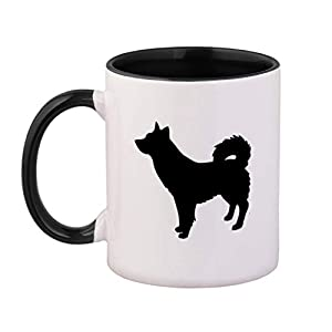 Style In Print Black Alaskan Klee Kai Silhouette Ceramic Cup Colored Mug - Black 35