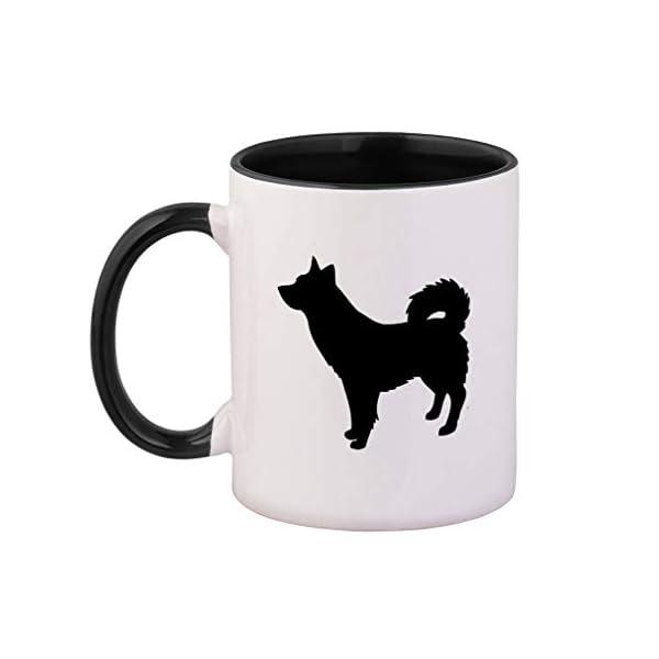 Style In Print Black Alaskan Klee Kai Silhouette Ceramic Cup Colored Mug - Black 1