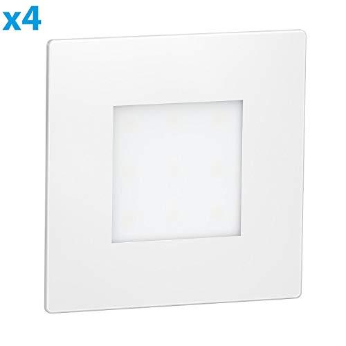 ledscom.de LED Treppen-Licht FEX Treppenbeleuchtung, weiß, eckig, 8,5x8,5cm, 230V, warmweiß, 4 STK.