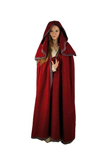Dark Dreams Gothic LARP Mittelalter Umhang Cape Kapuze Wolle schwarz grün rot oder braun Caitlin, Farbe:weinrot