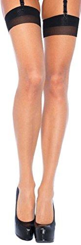 Leg Avenue Damen Straps Strümpfe 20 DEN Hautfarben mit Rücknaht und verstärkter Spitze und Ferse in Schwarz Einheitsgröße 36 bis 40