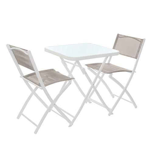 Set tavolo bianco con 2 sedie pieghevoli, in ferro e textilene Bianco