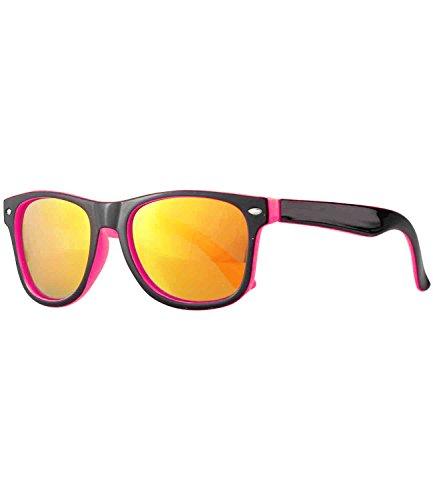 Caripe Caripe Kinder Sonnenbrille Mädchen Jungen Retro Design Verspiegelt Getönt, Barna (One Size, schwarz-pink sun verspiegelt-two)