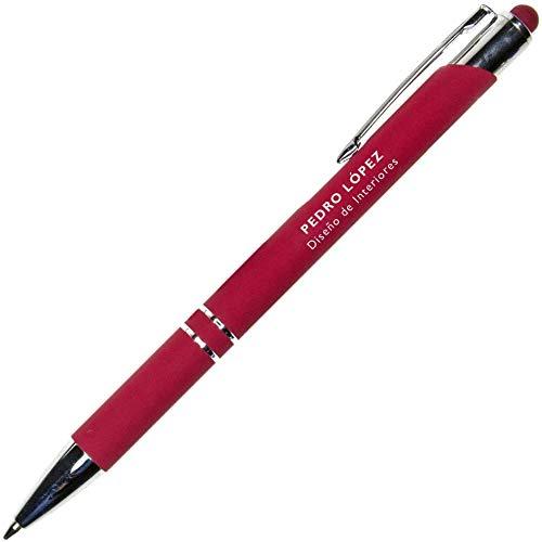 Elegante Bolígrafo para Regalar PERSONALIZADO (Nombre o Texto) · Bolígrafo Rojo Metálico y Puntero para Dispositivos Moviles · Este Boli Personalizado Incluye Estuche Individual Exclusivo