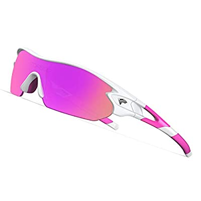 TOREGE Tr90 Flexible Kids Sports Sunglasses Polarized Glasses for Junior Boys Girls Age 3-12 TR04 (White&Pink&Purple REVO Lens)