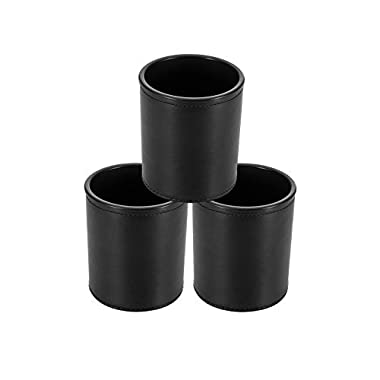 HYCC 3 Pack Professional PU Leather Dice Cups Set for Party Bar KTV - Black