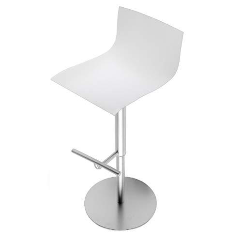 Thin S24 Barhocker Höhenverstellbar, weiß Sitzfläche Holz lackiert höhenverstellbar: 54-79cm