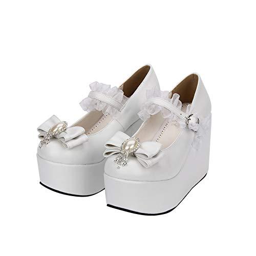 XWHKX Lolita Women's Shoes super high Heel Princess Shoes Muffin Bow Lolita Shoes