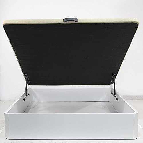 KullDesign Canapé abatible con Tapa tapizada de 30 mm. Grosor. Gran Capacidad con 28 cm de Altura y Esquinas Redondeadas en Madera. Base tapizada Transpirable. Color Blanco. (90x190)