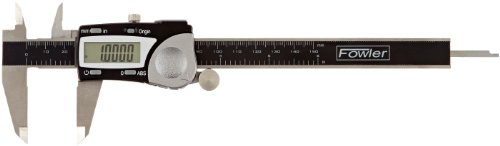 """Fowler Stainless Steel Frame Absolute Economy Digital Caliper, 54-100-000-2, 0-6"""" Measuring Range, 0.117"""" Jaw Thickness, 1.56"""" External Jaw Length, 0.635"""" Internal Jaw Length"""