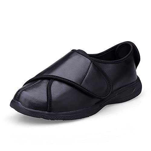 Grube stopy stopy szerokie buty, męskie i damskie wiosenne i jesienne skórzane buty do obrzęków, cukrzycowe buty do deformacji stóp (Color : Black, Size : 37 EU)