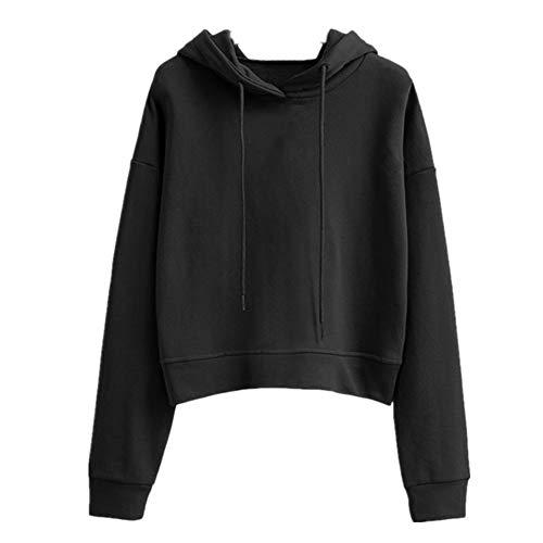 Suéter para mujer, suelto, con capucha, parte superior sólida, manga larga, uniforme de béisbol, talla grande y corto, para mujer Negro Negro ( M