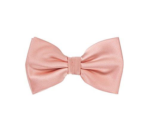 PUCCINI Herren Fliege│ 6 cm breite │ Uni/Einfarbig in verschiedenen Farben │ Satin-Schimmer │ Handarbeit (Rosé-Rosa)