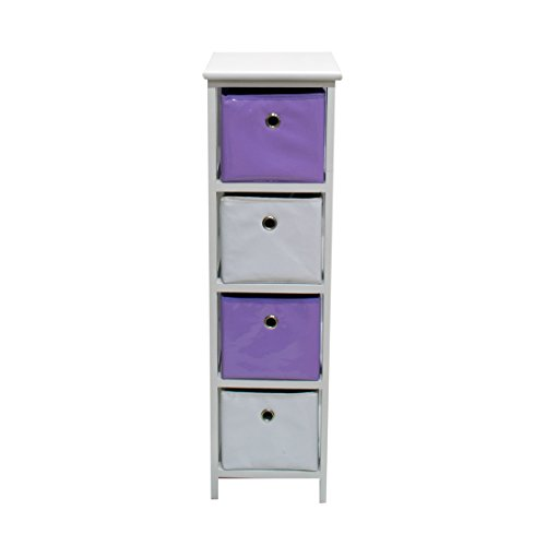 Frandis Möbel TAHITI-4 laden, structuur hout gelakt, wit, manden van vinyl, kleur: aubergine Afmetingen: 25 x 29 x 86 cm