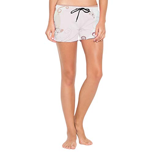 Butterf;Ies On Leaves Women's Sport Beach Swim Shorts Board Shorts Swimsuit with Mesh Lining