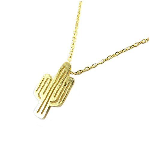 7bis [Q1482 - Necklace handcrafted 'Boho' (cactus) golden - 15x9 mm (0.59''x0.35'').