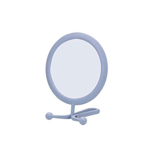 ZYLZL Espejo, baño, montado en la pared, tocador, Esktop Espejo de maquillaje Espejo de doble cara Espejo de pared plegable portátil Espejo de baño,Azul,El 11 * 14 * 16cm