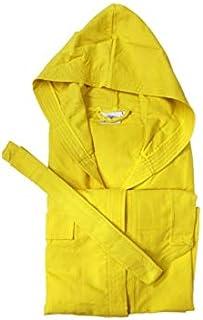 Blanco raya - Accappatoio Microfibra con Cappuccio e Cintura tinnta Unita in Comoda Borsetta - 1418 - Giallo, XL, Poliestere