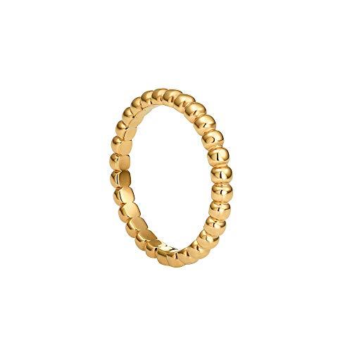 Heideman Ring Damen Globi aus Edelstahl Silber Farben poliert Gold oder Rosegold matt Damenring für Frauen mit Perlen als Kugelring vergoldet Gr.56 hr24307-7-56