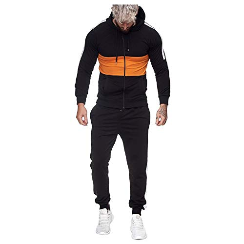 Mens Tracksuits Splicing Hooded Sweatshirt Sweatpants 2 Pieces Pockets Sweatsuits Full Zip Long Sleeve Jogging Suits