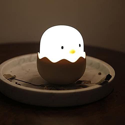 FemKey Luz Nocturna Infantil, LED Lámpara Nocturna de Niños con Función Control Tátil, Luz de Dormir de Cuarto de Bebé, USB Recargable. (Huevo-blanco)