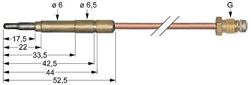 Olis Thermoelement für Gasherd Länge 1500mm Steckhülse ø 6,0(6,5) mm Steckhülse ø6,0(6,5) mm M9x1