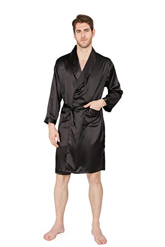 MAGE MALE Men's Summer Luxurious Kimono Soft Satin Robe with Shorts Nightgown Long-Sleeve Pajamas Printed Bathrobes