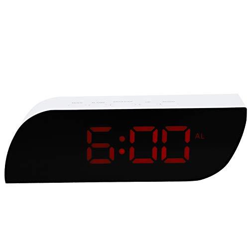 Reloj de espejo, reloj digital LED de conmutación de 12/24 horas, funcionamiento en ABS material simple para estudiantes y familias(red)