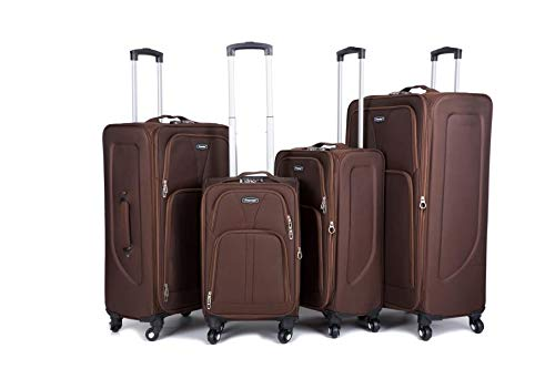 Cabin 4 Wheel Spinner Soft Shell Suitcases Expandable Luggage Trolley (Brown, 20)