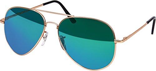 Balinco Hochwertige Pilotenbrille Sonnenbrille 70er Jahre Herren & Damen Sunglasses Fliegerbrille verspiegelt (Rosé Gold/Matt-ICE)