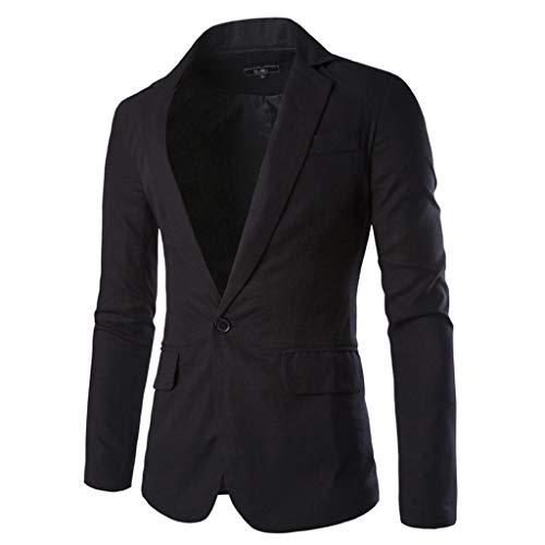 Giacca Sportiva Cappotto Blazer Slim Fit Cappotto Casual Suit One Button Affari Bavero Suit Elegante Wedding Outwear Coat Suit Tops Uomo (XXL,10- Nero)