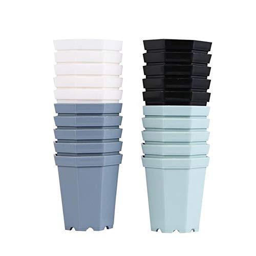 Pratique 20pcs octogonal en plastique Pot de fleurs pratique durable Succulent Plant Pots en plastique Pots de fleurs Porte-usine for magasin Home Garden décoratif