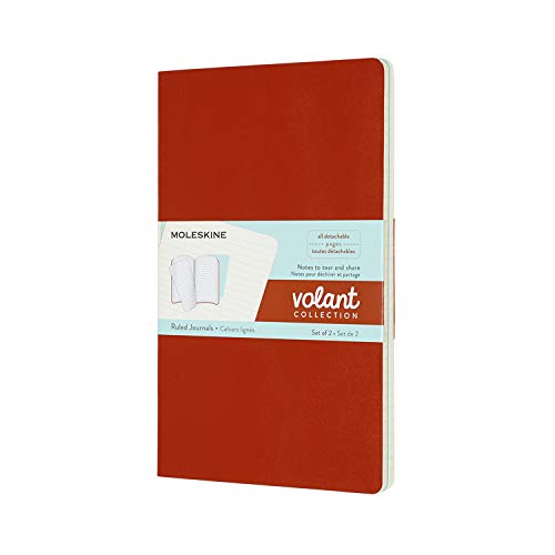 Moleskine Volant Journal, Soft Cover, Large (5' x 8.25') Ruled/Lined, Coral Orange/Aqua Blue, 96 Pages (Set of 2)