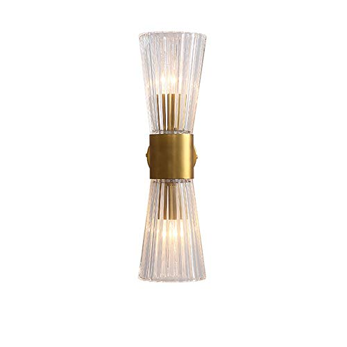 Moderno 2 Luces Aplique Pared Transparente K9 Cristal Pantalla Lámpara Luz Pared Creativo Vertical Decorativo Cobre Escalera Lámparas Pared E14 × 2 Ø12cm Dorado Dormitorio