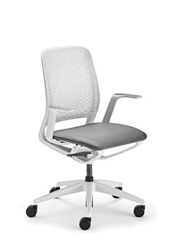 Sedus se:Motion Space, Bürostuhl, Armlehnen, Sitzpolster, keimresistent, Drehstuhl, Silvertex Lichtgrau, Verstellbar