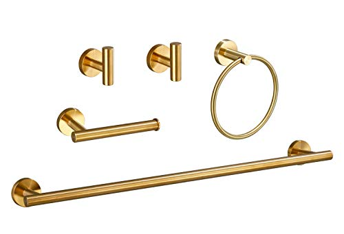 USHOWER Bathroom Hardware Set, Includes 24-Inch Bath Towel Bar, Durable SUS304 Stainless Steel, Brushed Gold, 5-Piece