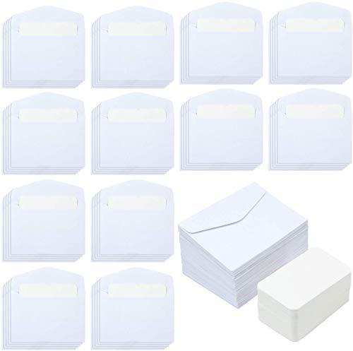 Biggroup 120 sobres pequeños con 120 tarjetas de visita en blanco de colores, tarjetas de regalo de bolsillo para Navidad, Día de Acción de Gracias, bodas, suministros de fiesta de cumpleaños