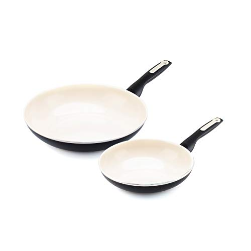 "GreenPan Rio Healthy Ceramic Nonstick, Frypan Set, 8"" and 10"", Black"