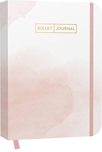 Bullet Journal 'Watercolor Rose' 05: Mit Punkteraster, Seiten für Index, Key und Future Log sowie Lesebändchen, praktischem Verschlussband und Innentasche