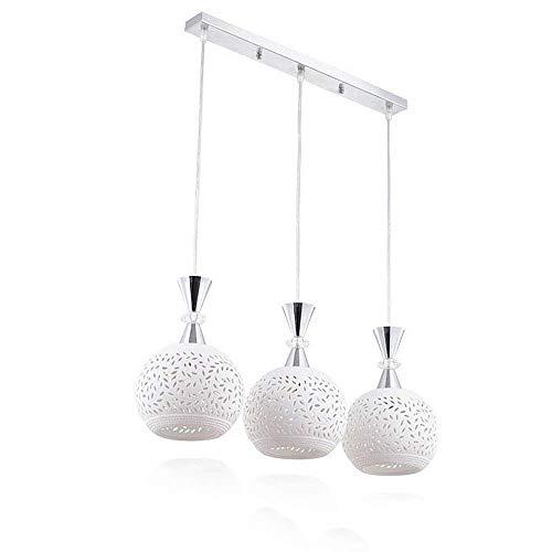 GaLon hanglamp, vintage, hanglamp, 3 vlammen, kroonluchter, modern design, E27, keramische hanglampen, eettafel, witte lamp, max. 40 W, voor eetkamer (gloeilamp niet inbegrepen)