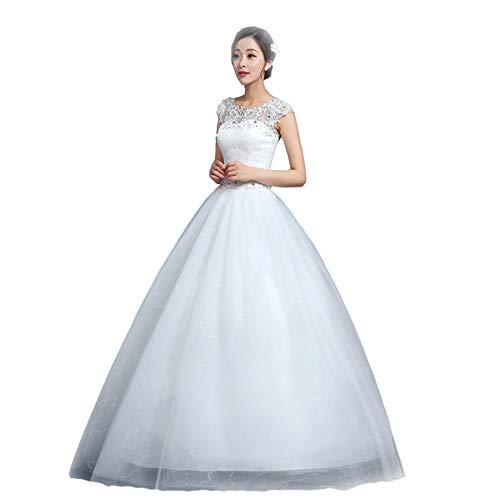 BWCX dames trouwjurken lang kanten bruidsjurken schathals bruidsmeisjes jurken, wit