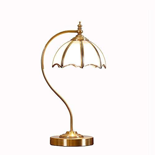 JCCOZ-URG Lámpara de escritorio de estudio American Copper Retro lámpara de escritorio del escritorio del LED Protección de los ojos lámpara de escritorio de oficina creativa regulable Lámpara de escr