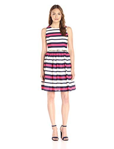Eliza J womensEJ6M1578Stripe Fit and Flare Sleeveless Dress - Multi - 14 Pink
