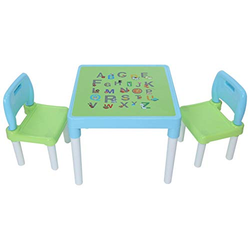 Kids Table and Chair Set, Toddler, Plastic Kids Table and 2 Chairs Set, Set for Children, Toddler, Table and Chairs for Boys and Girls (Blue)