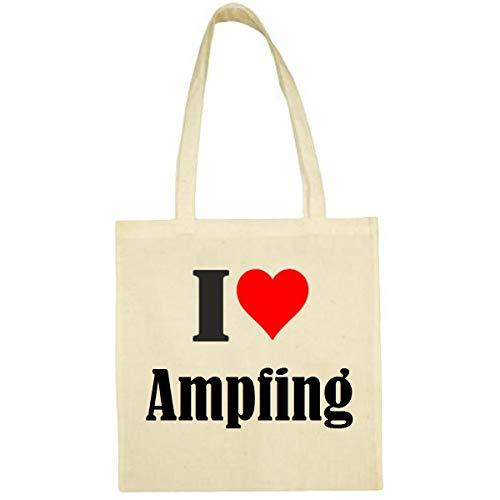 Tasche I Love Ampfing Größe 38x42 Farbe Natur Druck Schwarz