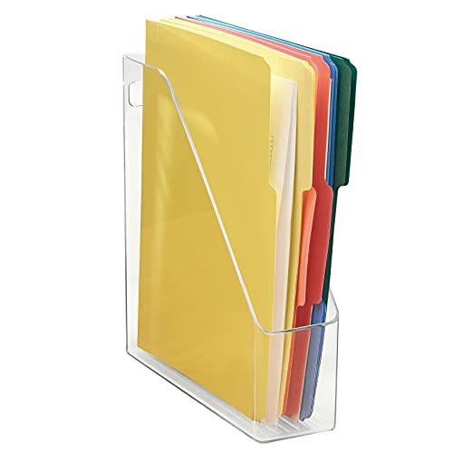 mDesign Organizador de escritorio – Revistero transparente – Organizador de documentos, revistas, libros o actas – Práctico organizador de oficina