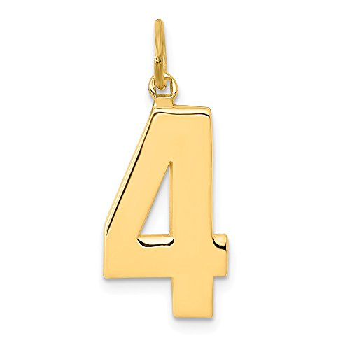 14k Yellow Gold Casted Large Number 4 Pendant Charm Necklace Sport Fine Jewelry For Women Gifts For Her